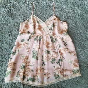 Forever 21 Pastel Pink Tank Top w/ Roses & Lace